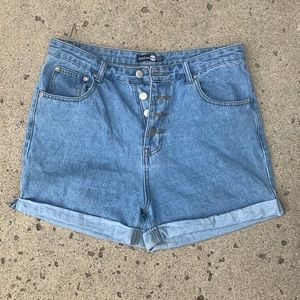 Button Up High-Waisted Jean Shorts